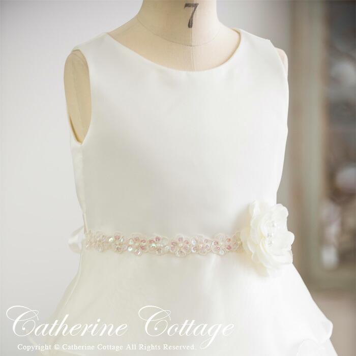 オーガンジー4段ティアードドレスのホワイト