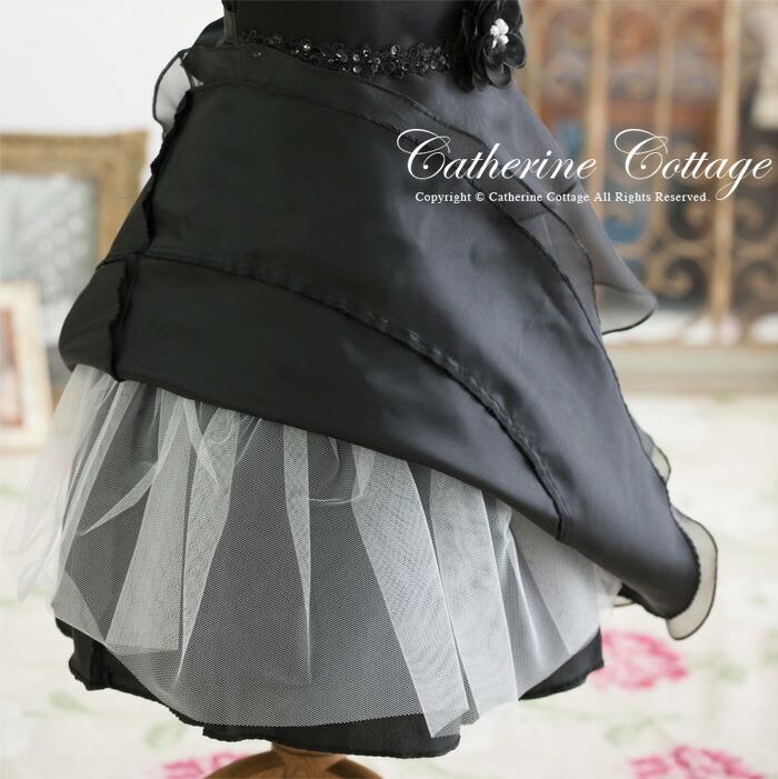 オーガンジー4段ティアードドレス
