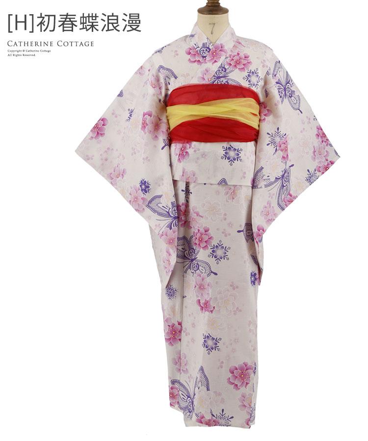 女の子 ゆかた 桜 蝶