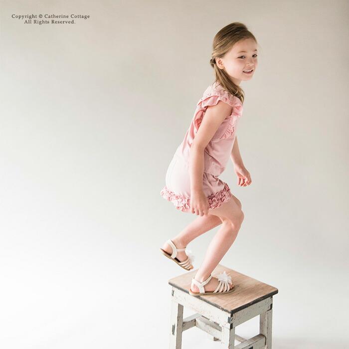裾フリルショートパンツ グレー ピンク 青 ペチパンツ