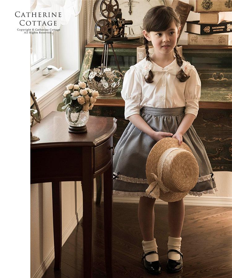 女の子 子供服 キッズ カジュアル フォーマル セーラー リボン カットソー ブラウス 白 黒 半袖 長袖 お出かけ着