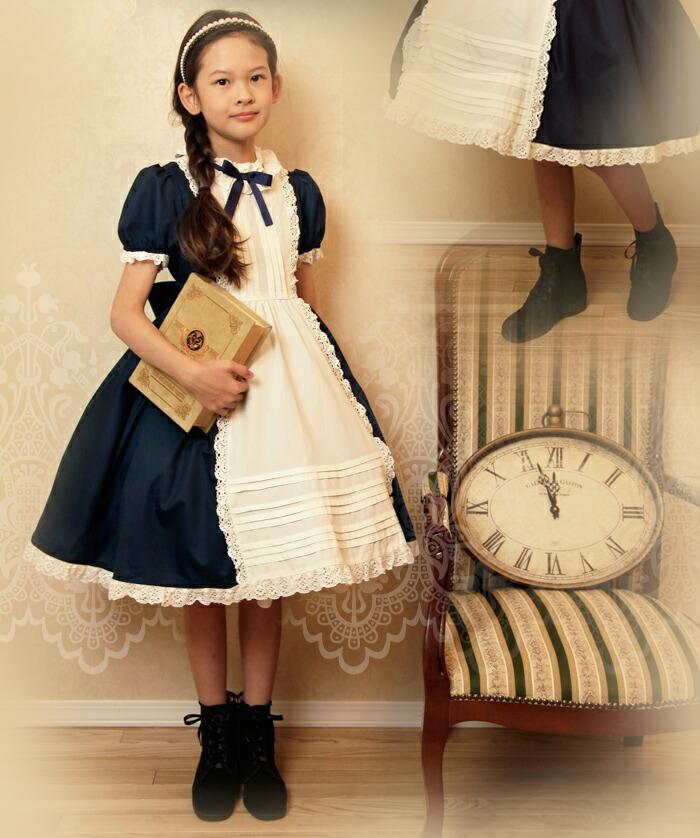 ワンピース アンティーク ゴスロリ メイド レース 子供服 キッズ 女の子 ドレス フォーマル 紺