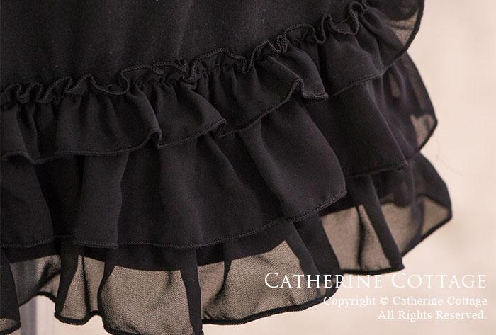 裾フリルワンピースキャミソール  部屋着 キッズ ブラック ホワイト 白 黒 子供ドレス、ワンピースに合わせて♪ 子供フォーマルドレス カジュアル 女の子 シュミーズ パニエ スリップ 普段着 楽天 インナー アンダーウェア