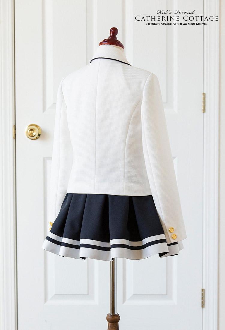子供スーツ 女の子 パイピングジャケット 白ラインスカート スーツセット ジャケット スカート スーツセット 女の子 卒業式 入学式 発表会 フォーマル 女児スーツ