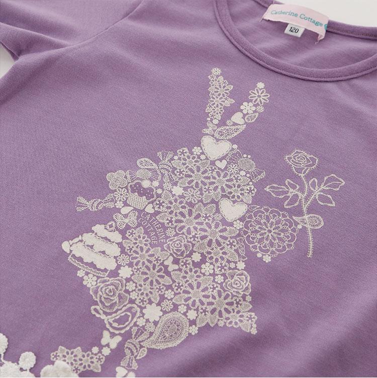 裾モチーフ 花柄 レース柄 ウサギ