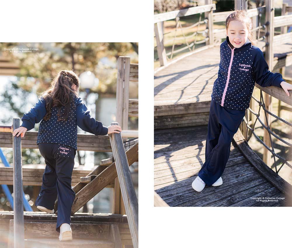 子供服 キッズ 女の子 ドットトレーニングウェア ジャージ ダンス衣装 体育 スポーツウェア 黒 ブラック 紺 ネイビー 黒 ブラック リボン