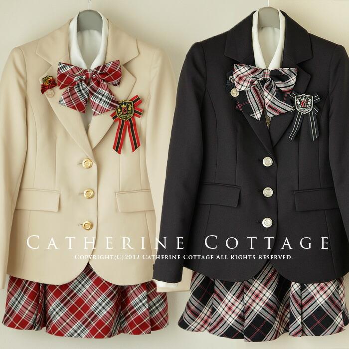 8f4b3fb3a89 ジュニア 女の子 女児 卒業式 スーツ ガールズエンブレム付きチェックスーツ7点セット ブラック タータン