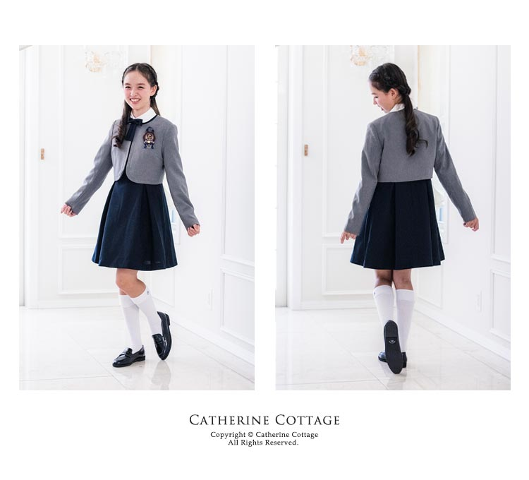 卒業式スーツ 女の子 卒服 上品白襟ワンピース&ノーカラーボレロ