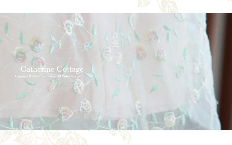 カラー刺繍オーガンジードレス
