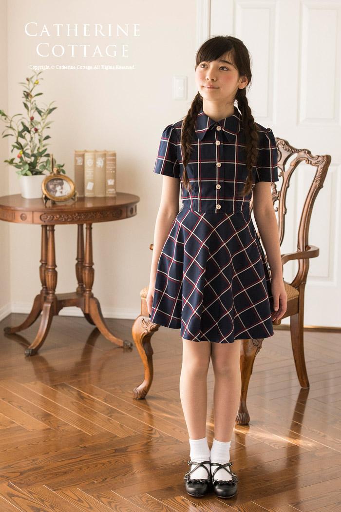 女の子 通学 ワンピース チェック かわいい 可愛い お出かけ 半袖