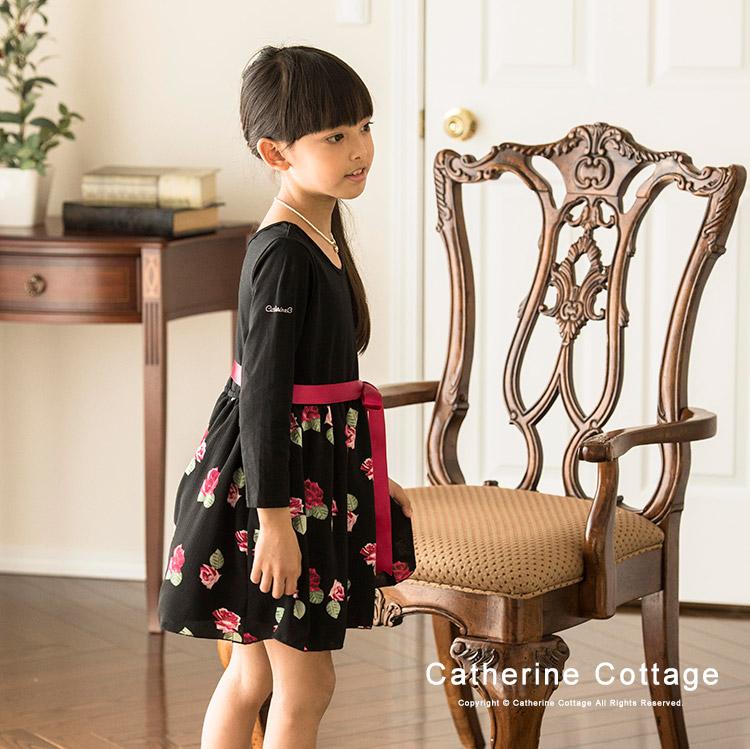 女の子 カジュアル フォーマル バラ柄切り替えワンピース 花柄 ネイビー 黒
