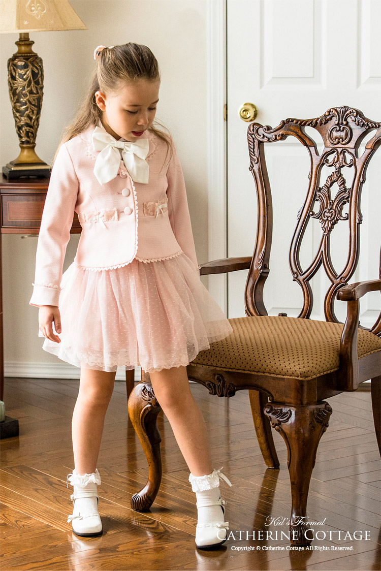 子供 キッズ フォーマル スーツ 女の子 ガールズ 入学式 卒園式 礼服 ピンク チュールスカート