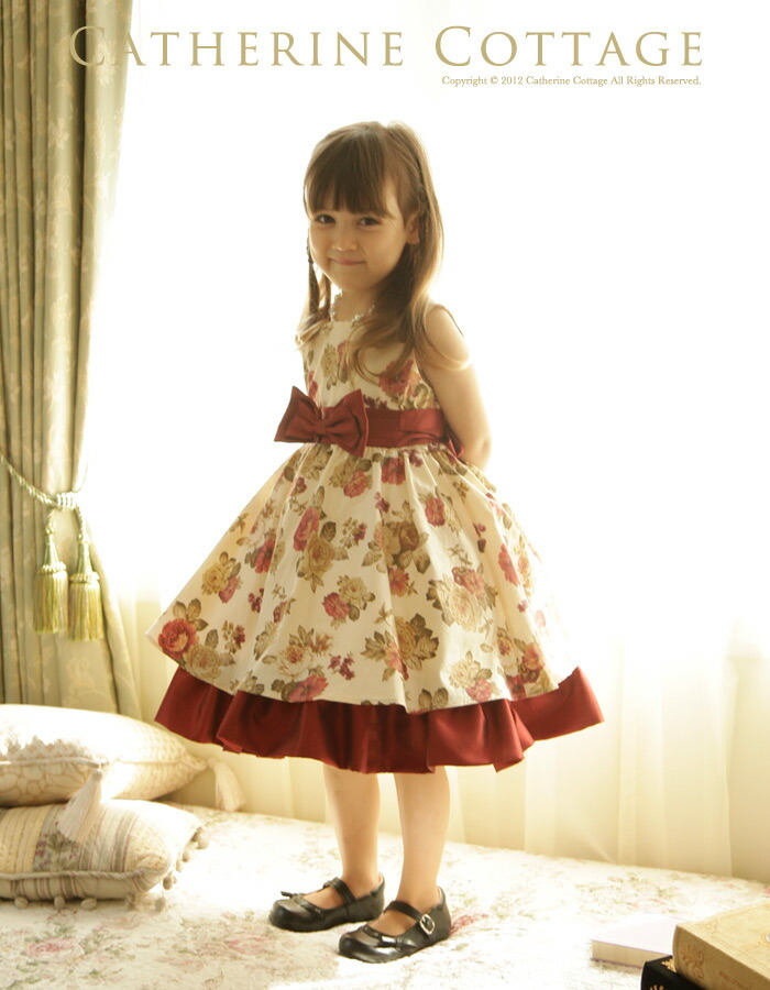 1985581a539e5 子供ドレス クラシカルローズプリントドレス 子供フォーマルドレス 子ども キッズドレス 発表会 結婚式