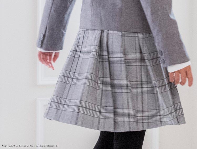 卒業式 入学式 スーツ 細身ジャケット&チェック柄プリーツスカート2点セット 女の子[110 120 130 140 150 160cm グレー 黒 ブラック] キャサリンコテージ 子供服 フォーマル