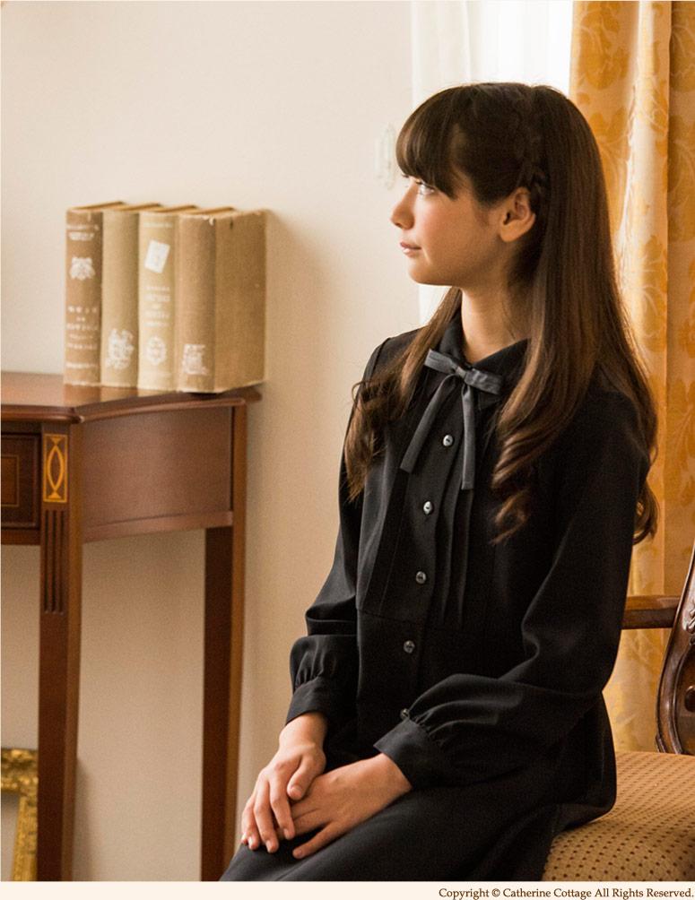 子供ドレス 女の子用 タックワンピース フォーマル ジュニア 発表会・結婚式に ブラックフォーマル