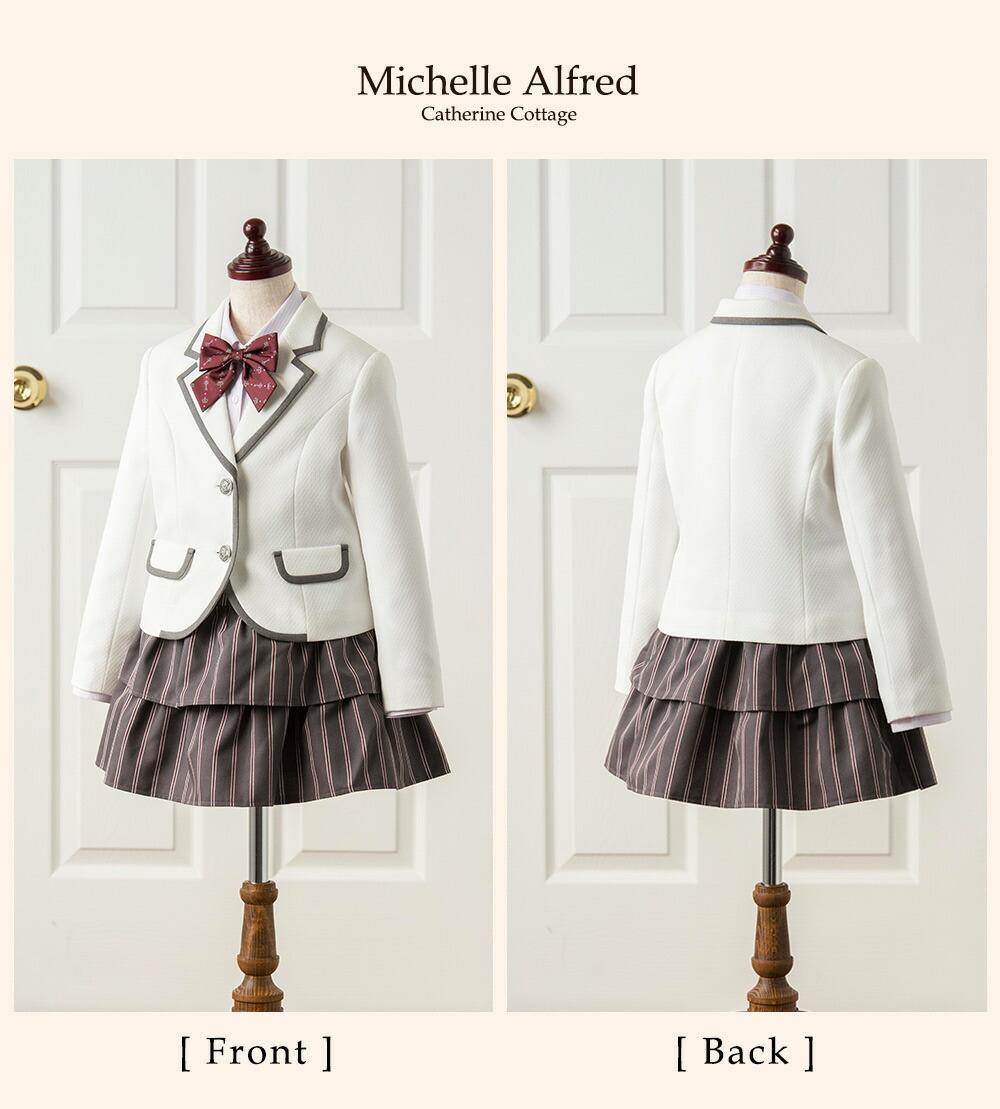 867e59e7da332 楽天市場 入学式 子供服 女の子 卒園式 白ジャケット×ストライプ ...