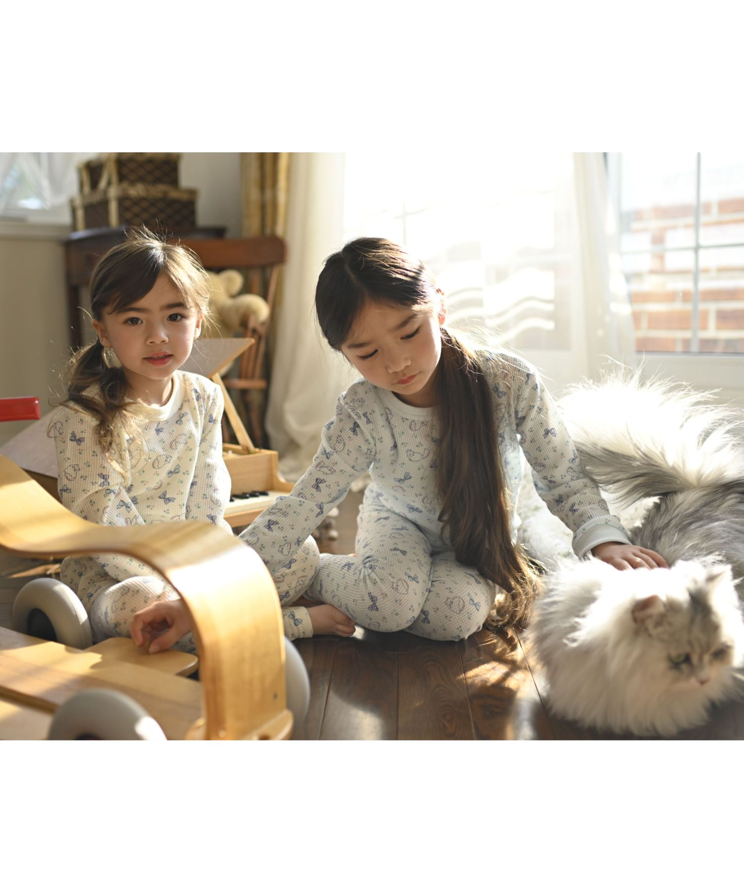 女の子猫柄プリントワッフルルームウェア