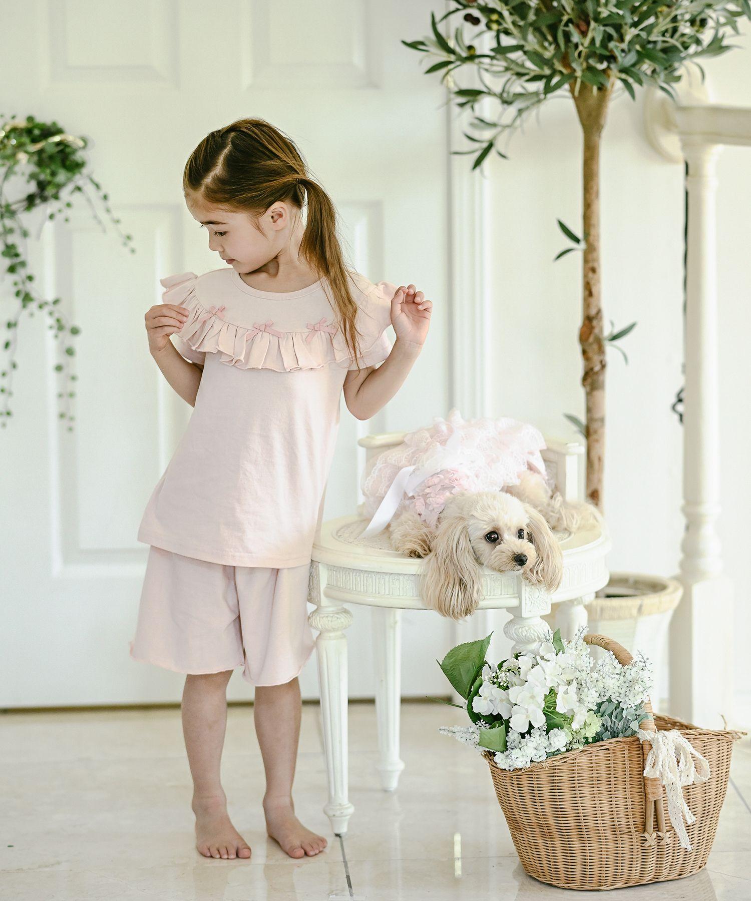 女の子長袖花柄ワンピース