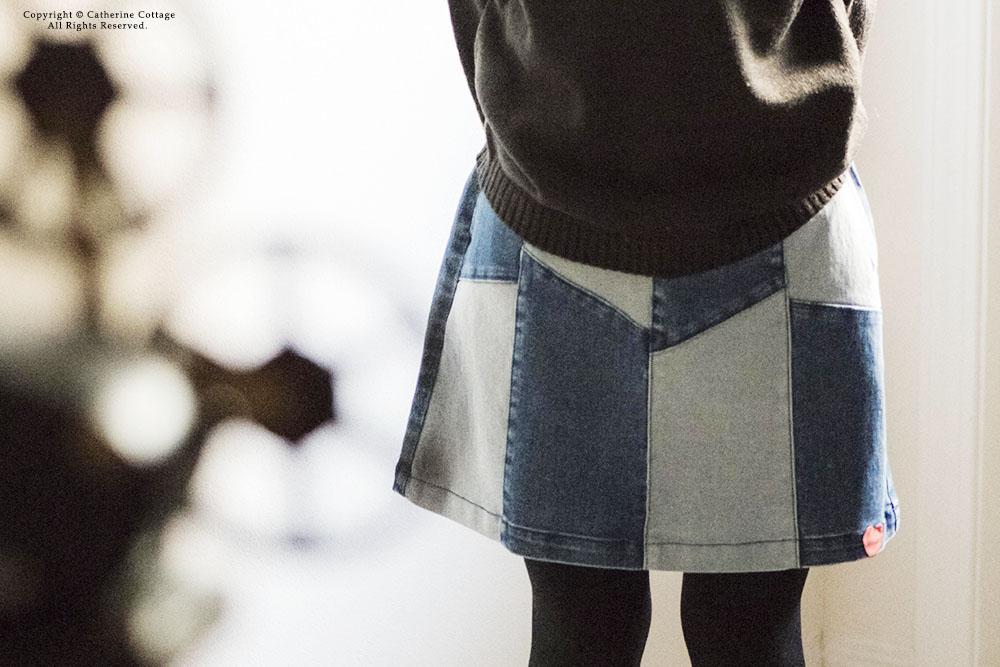 パッチワークデニムスカート