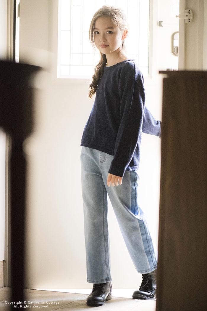 女の子用デニムワイドパンツ