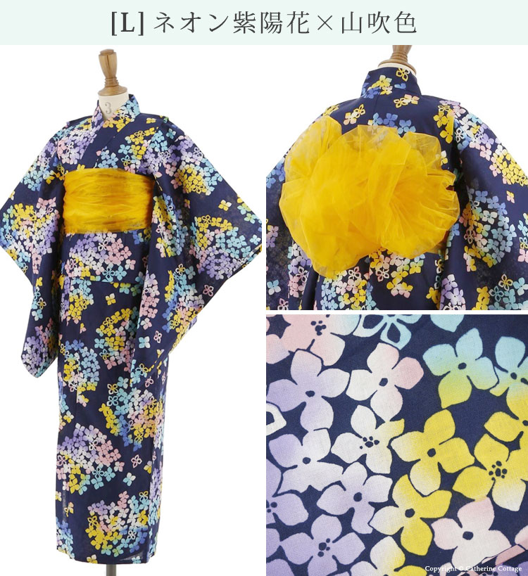 女の子 キッズ ゆかたセット 紫陽花 グラデーション カラフル 紺