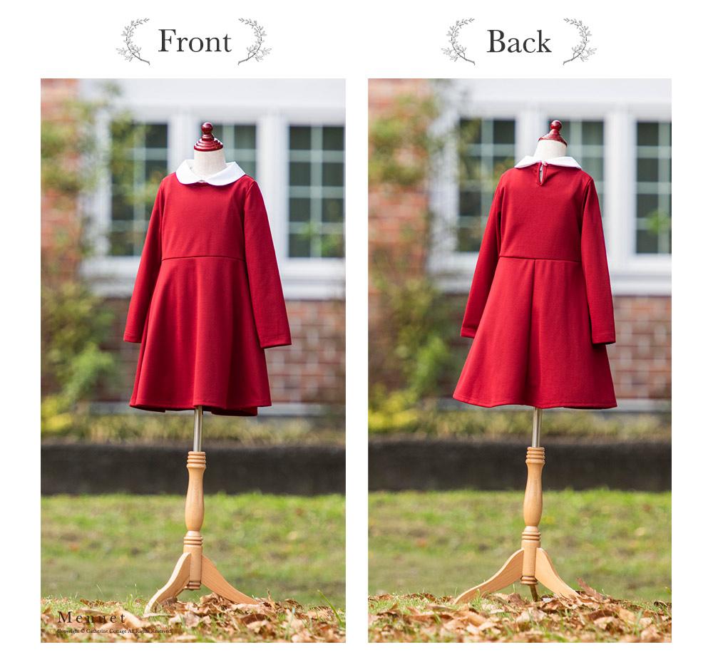 女の子用の赤い長袖ワンピース