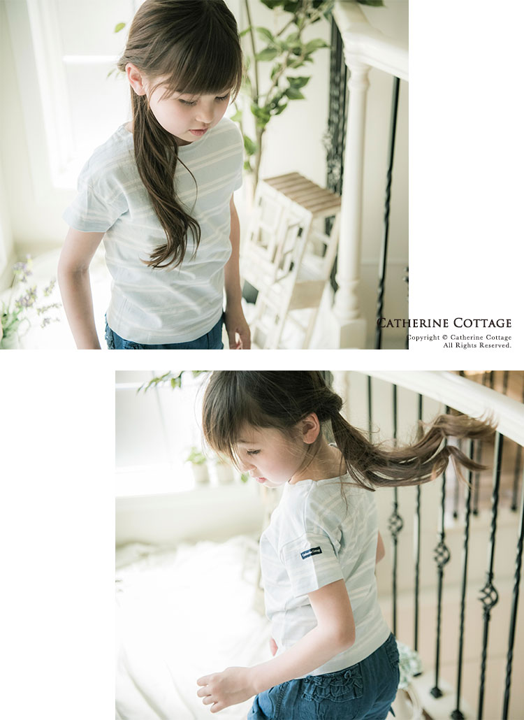 子供服カジュアルボーダーTシャツ半袖女の子男の子キッズレディース