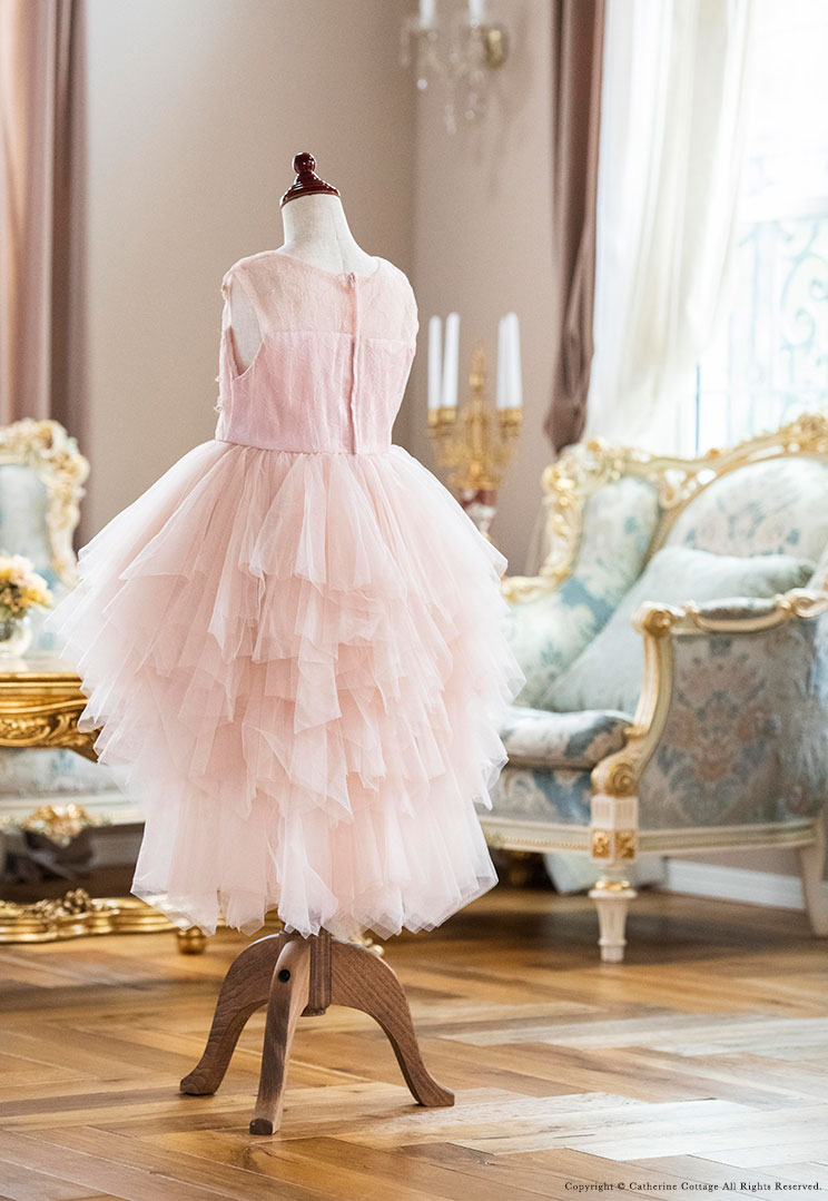 キッズドレス ピンク 白 花柄 レース