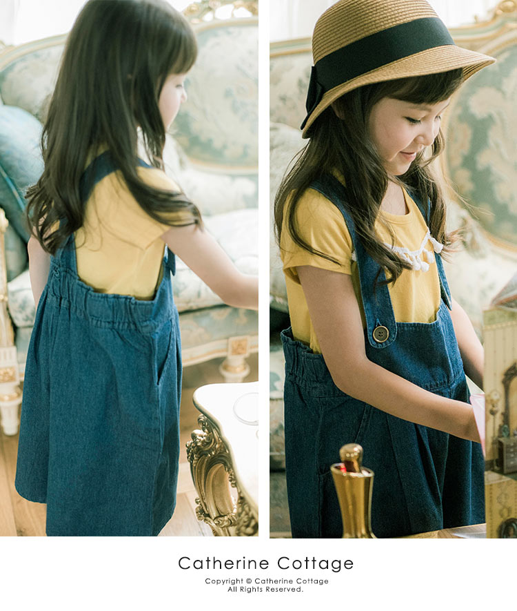 女の子 サロペットデニムガウチョ キッズ[100 110 120 130 140 cm ブルー ネイビー インディゴ]カジュアル デニム ワイドパンツ オーバーオール 韓国子供服風 おしゃれ 子供服