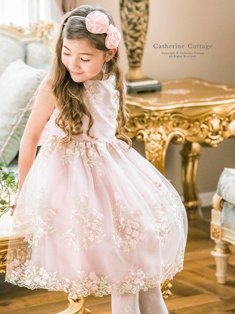 発表会 キッズドレス 子供 女の子 エンブロイダリーレース 女の子 結婚式 発表会 七五三 パーティー 花柄 フォーマル 子供服
