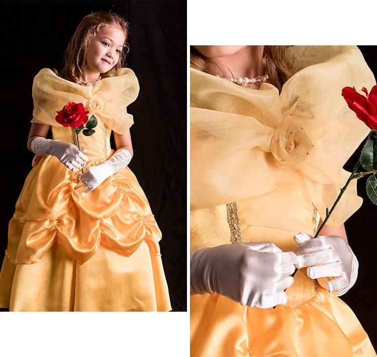 キッズ ベル風 ディズニー Dハロ 衣装 コスプレ プリンセス ゴージャス ドレス 黄色 美女と野獣 ハロウィン 仮装 コスチューム