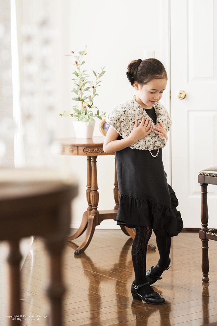 Iライン シャンタン フリル ドレス 子供 キッズ ジュニア トドラー パーティー 結婚式