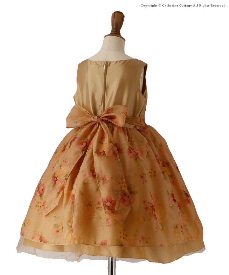 子供服 キッズ 子供ドレス 薔薇柄ゴールドオーガンジードレス 発表会 結婚式