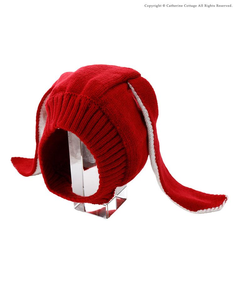うさぎの耳付きベビーニット帽 お昼寝アート