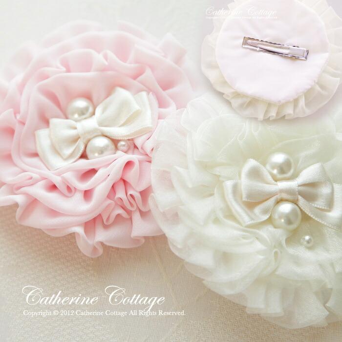 ピンク シフォン コサージュ
