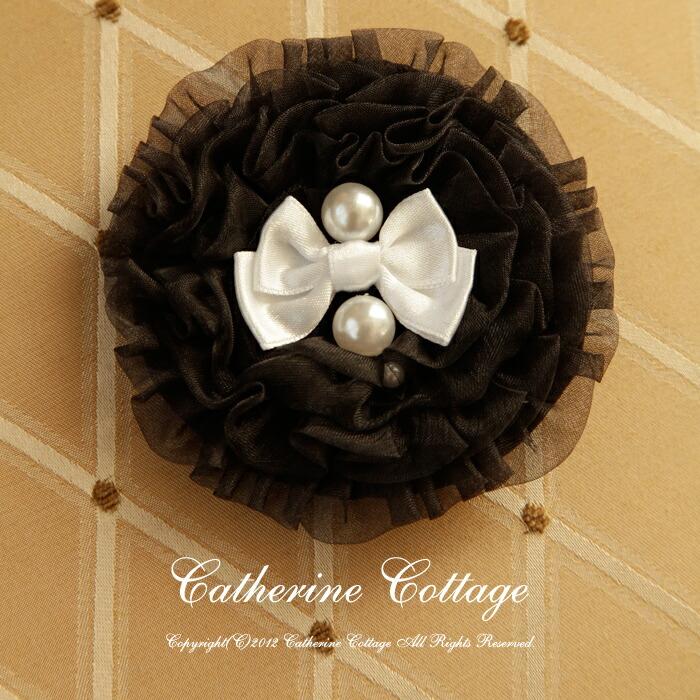 ピンク シフォン コサージュ 髪飾り