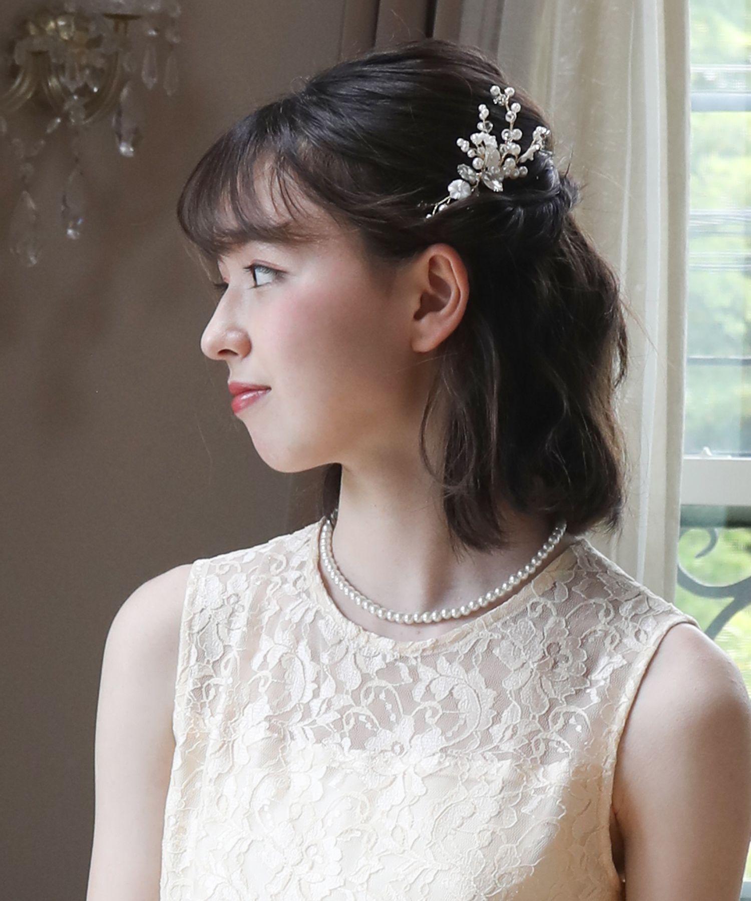 パール クリスタル ビジュー ゴールド 発表会 パーティー 卒業式 子供 ヘアアクセサリー