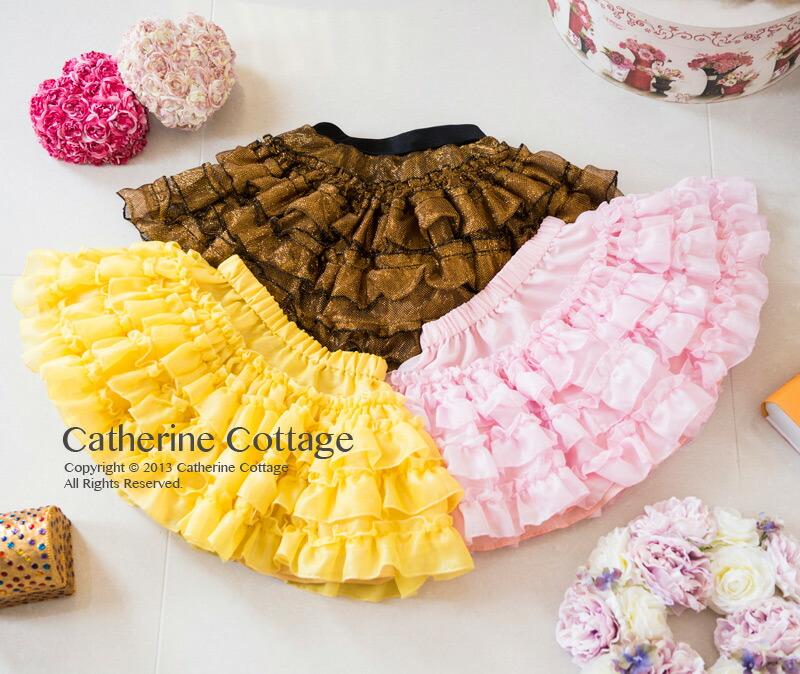 子供服 キッズ ジュニア シフォンフリルスカート パニエ チュール スカート ワンピース インナー ピンク イエロー ゴールド