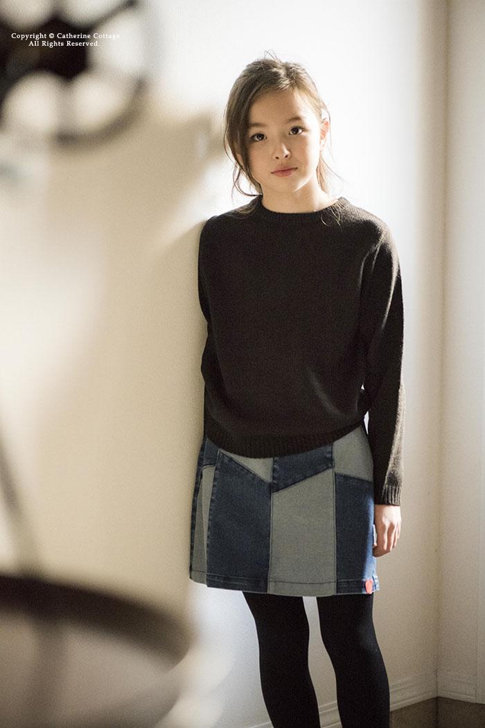 子供服 デザインニット 女の子 長袖 アクリル コットン [110 120 130 140 150 160cm ネイビー グレー ブラック パープル ノルディック柄