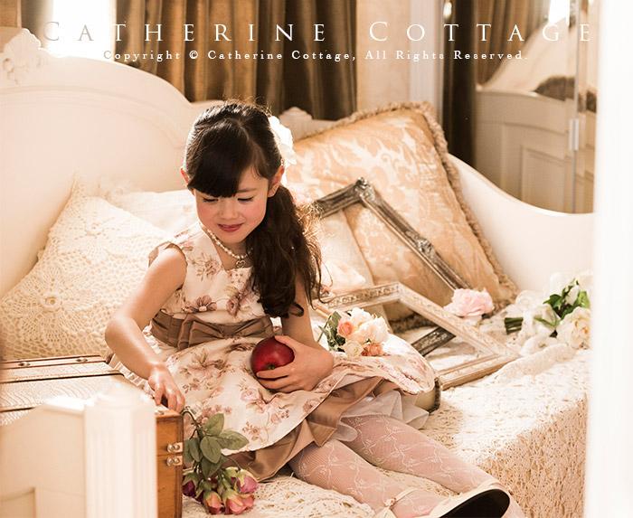 子供ドレス クラシカルローズプリントドレス