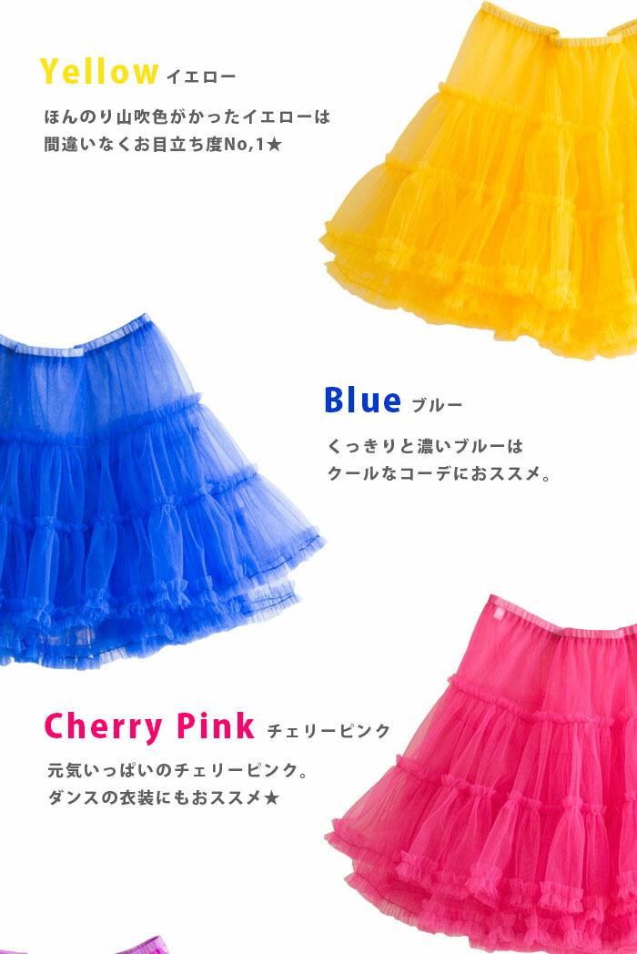 パニエ 黄色 イエロー 青 ブルー ピンク