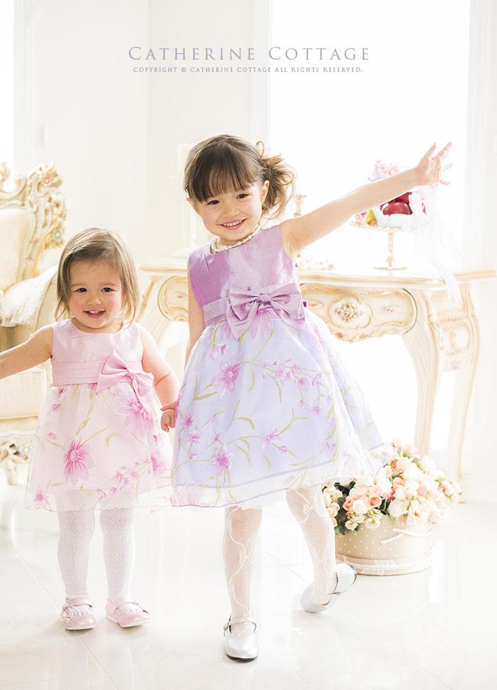 子供ドレス 花柄オーガンジードレス