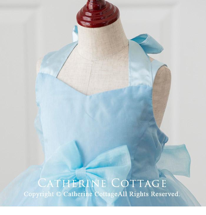 子供ドレス三段フリルのホルターネックドレス水色ブルー