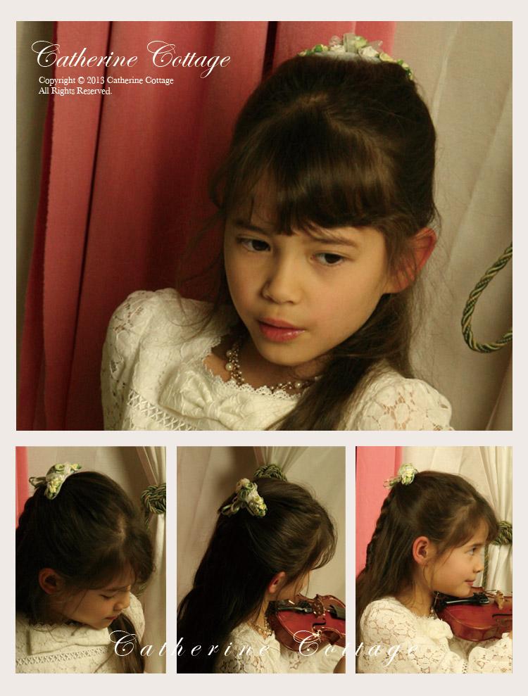 パールつきフラワーコーム 髪飾り 子供 ヘアアクセサリー 結婚式・発表会・七五三 ドレスや着物ドレスに合わせてどうぞ。