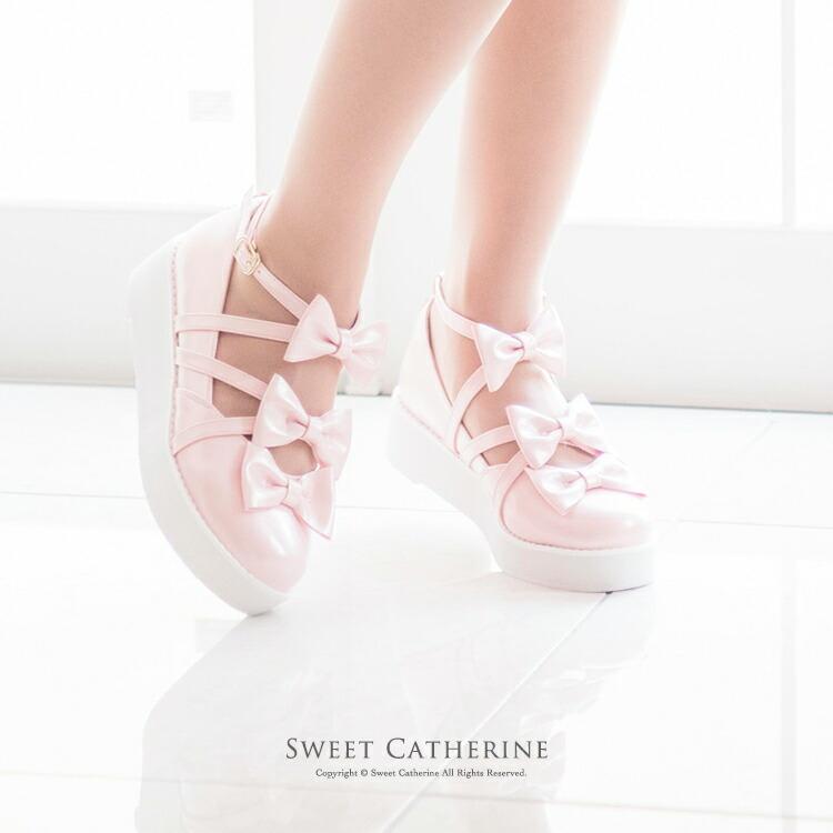 ロリィタ 靴 ピンク 厚底