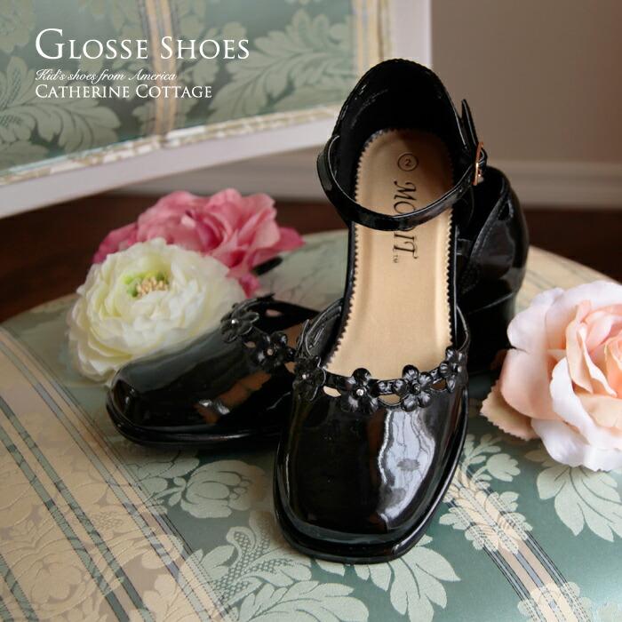 1649b92b648e1 お花とラインストーンのエナメルキッズシューズ 子供靴 アメリカから輸入 結婚式 七五三