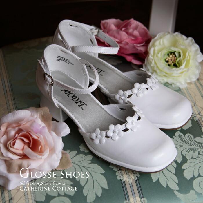 お花とラインストーンのエナメルキッズシューズ 子供靴 アメリカから輸入 結婚式 七五三 フォーマル 激安 ドレスやワンピースと合わせて♪
