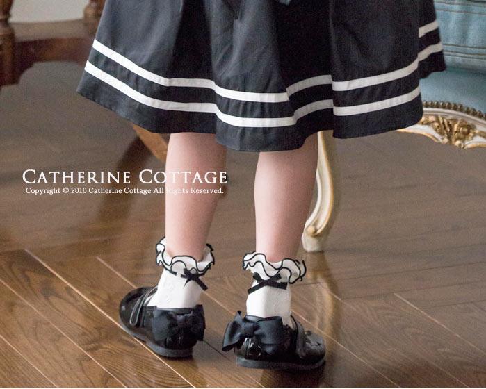 子供用靴下 キッズソックス フリル編みはしごリボン風ソックス フォーマル 白 S M 16 17 18 19 20 21 ソックス 靴下