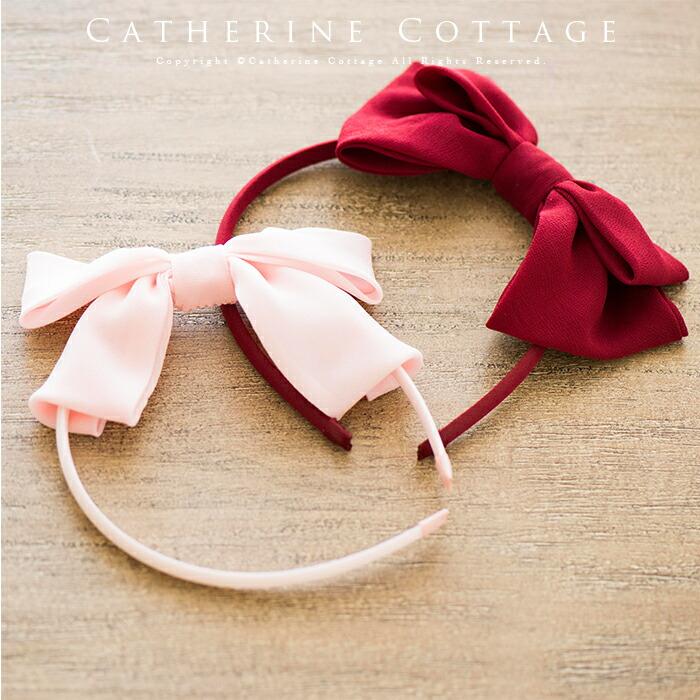 シフォン&リボンカチューシャ 赤 ピンク
