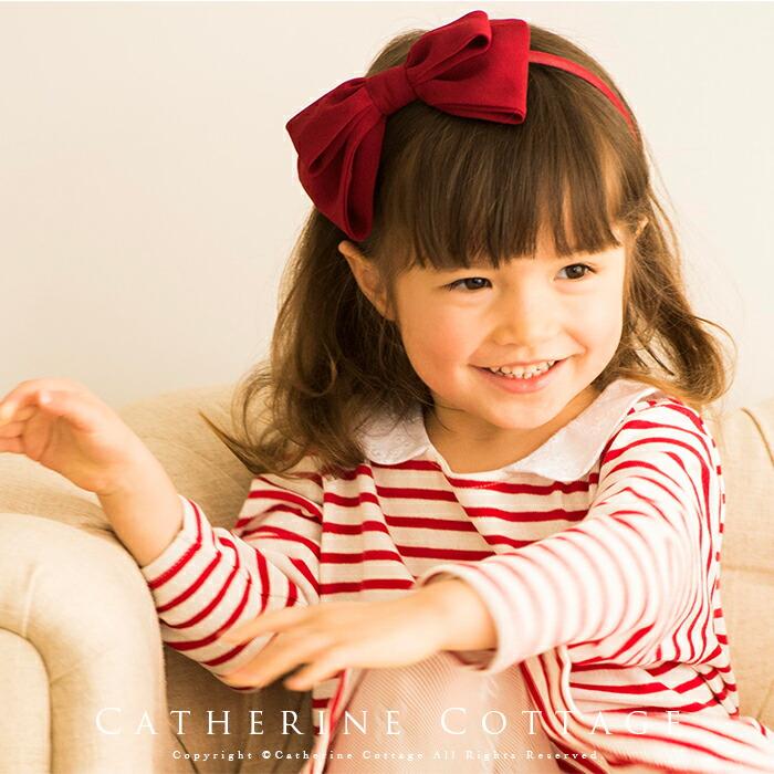 子供用カチューシャ 女の子 赤 リボン